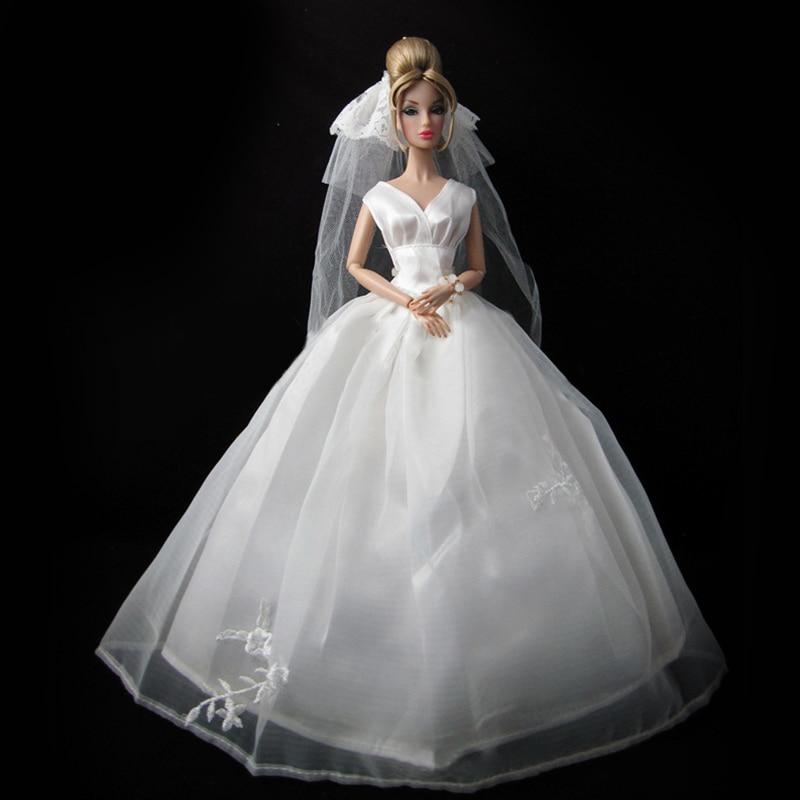[해외]Wedding Dress for Doll Princess Evening Party Clothes Wears Long Dress Outfit Set for DollVeil Doll Dress/Wedding Dress for Doll Princess Evening