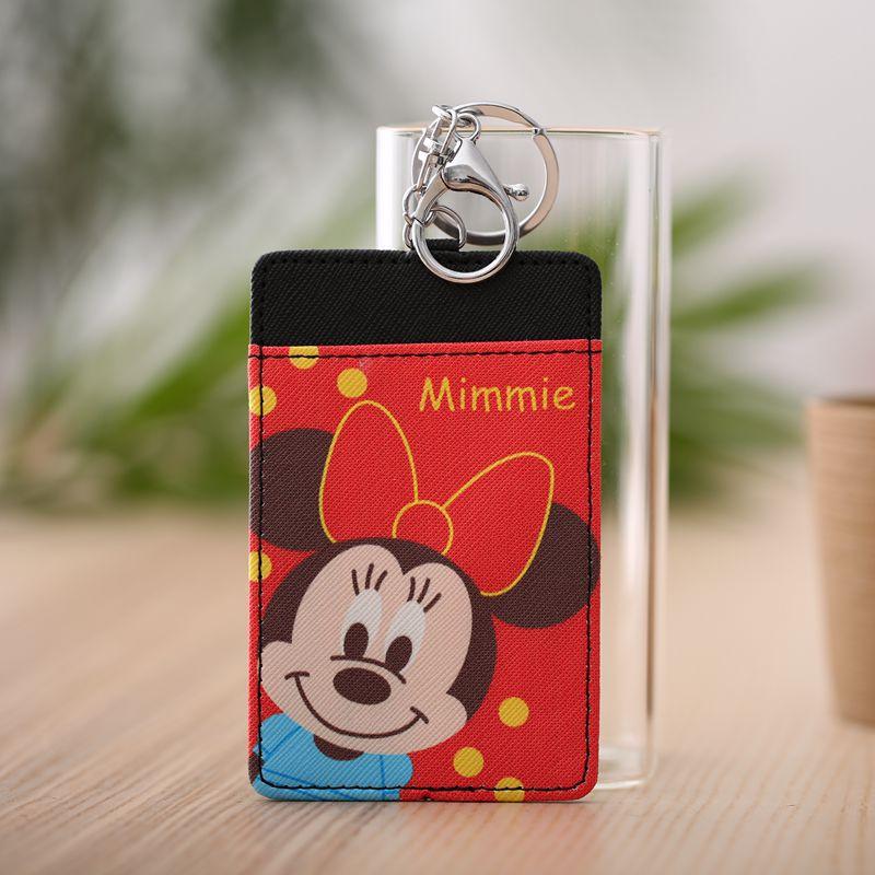 [해외]Disney Mickey mouse cartoon card bag keychain student certificate bag bus holder case ID card package pendant Purse Coin  gift/Disney Mickey mouse