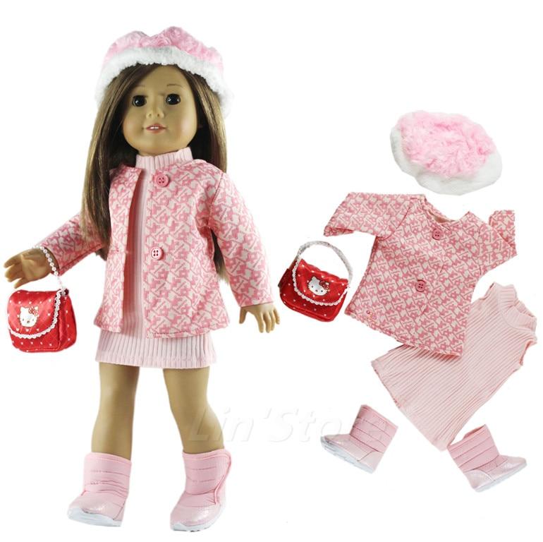 [해외]1 Set Doll Clothes Pink Outfit Coat+dress for 18\