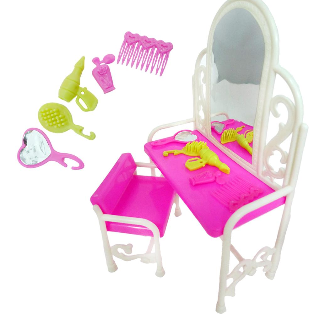 [해외]Pink Dressing Table Dollhouse Dresser Set Mirror Table Chair Miniatures Furniture for Barbie Doll Accessories for Blythe Clothes/Pink Dressing Tab