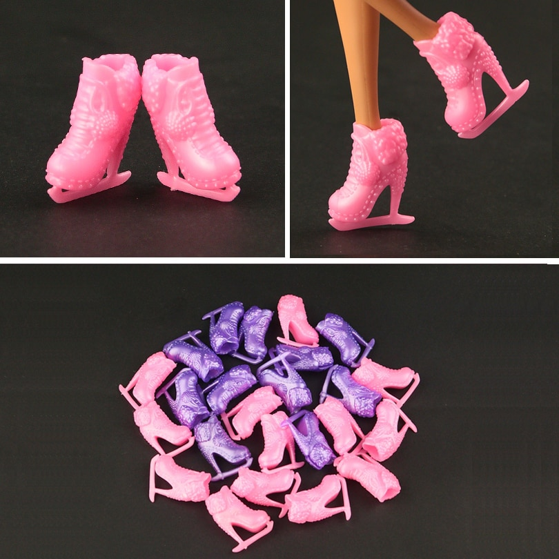 [해외]10 pair / lot New design Pink skating Shoes for barbie doll  fashion red High-heel  Mixed 2 color Free shipping/10 pair / lot New design Pink skat