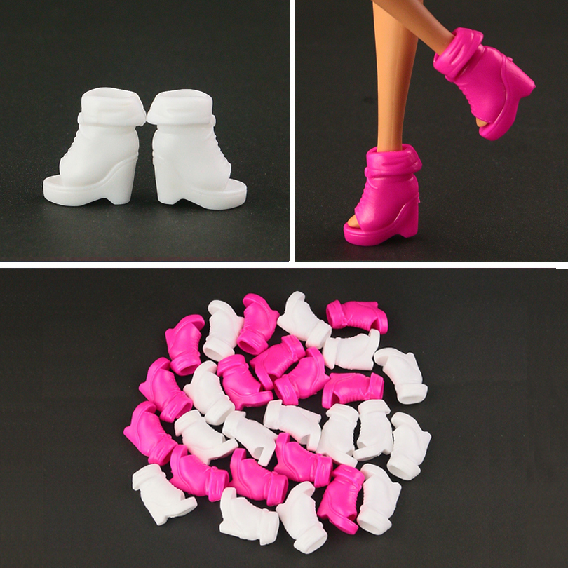 [해외]10  pair / lot  white shoes for barbie doll  Beautiful  short boots 2 color for you choose/10  pair / lot  white shoes for barbie doll  Beautiful