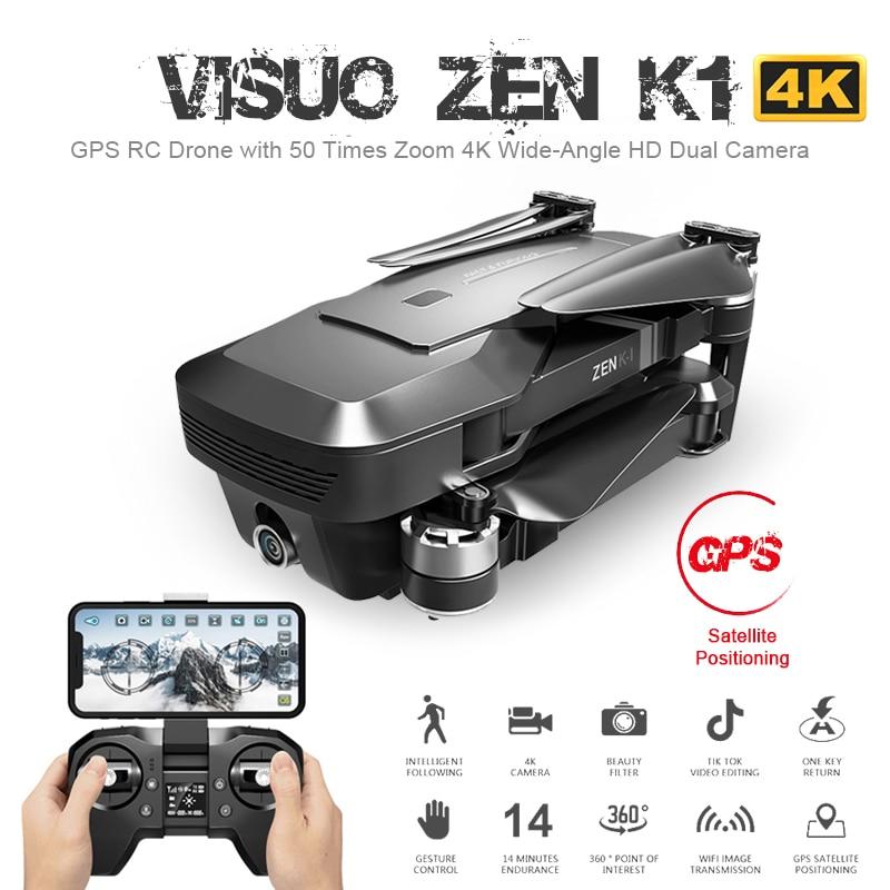 [해외]Visuo zen k1 gps rc 드론 4 k hd 듀얼 카메라 제스처 컨트롤 5g wifi fpv 브러시리스 모터 비행 28 분 dron vs f11 b4w sg906/Visuo zen k1 gps rc 드론 4 k hd 듀얼 카메라 제스처