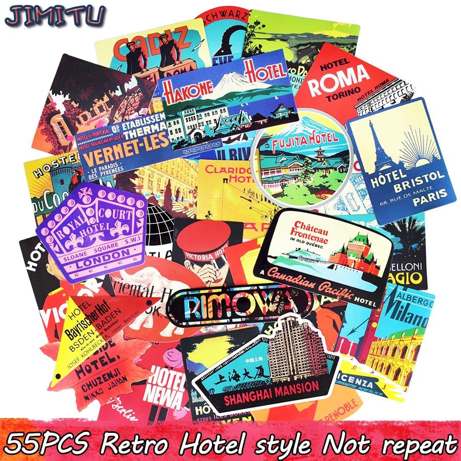 [해외]55pcs Hotel Style Sticker Travel Retro Graffiti Building Stickers for DIY Sticker on Luggage Laptop Bicycle Fridge Car Snowboard/55pcs Hotel Style
