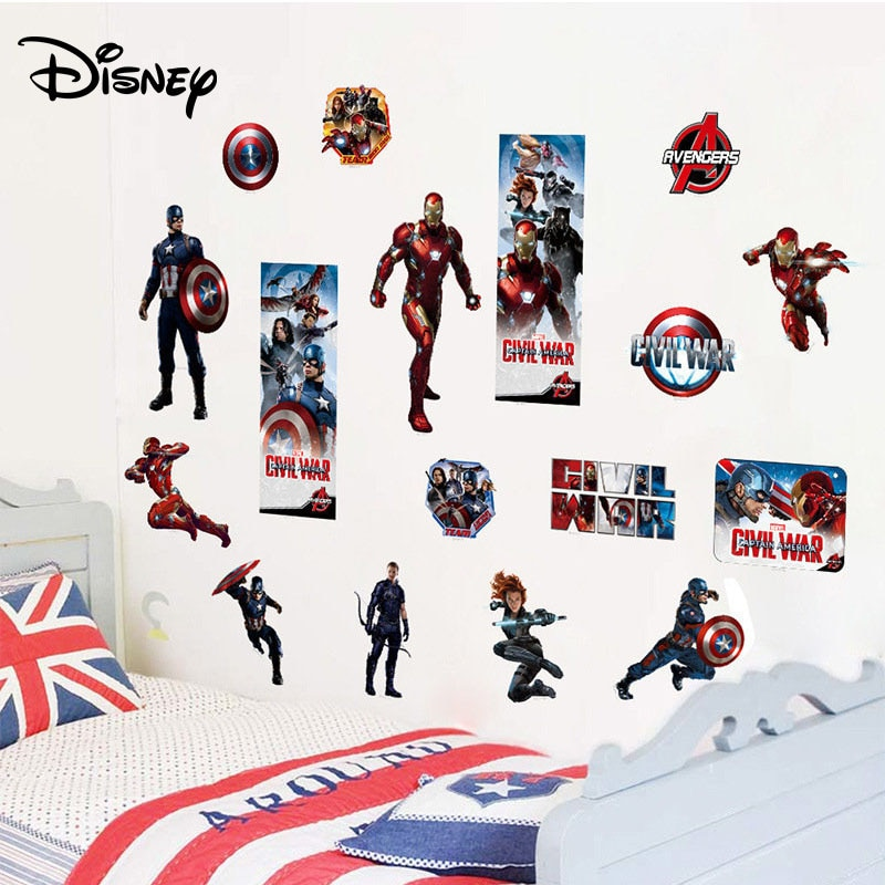 [해외]Disney Marvel Captain America 3 Stickers Children`s Room Home Decor Sticker Bedroom Decor Sticker/Disney Marvel Captain America 3 Stickers Childre