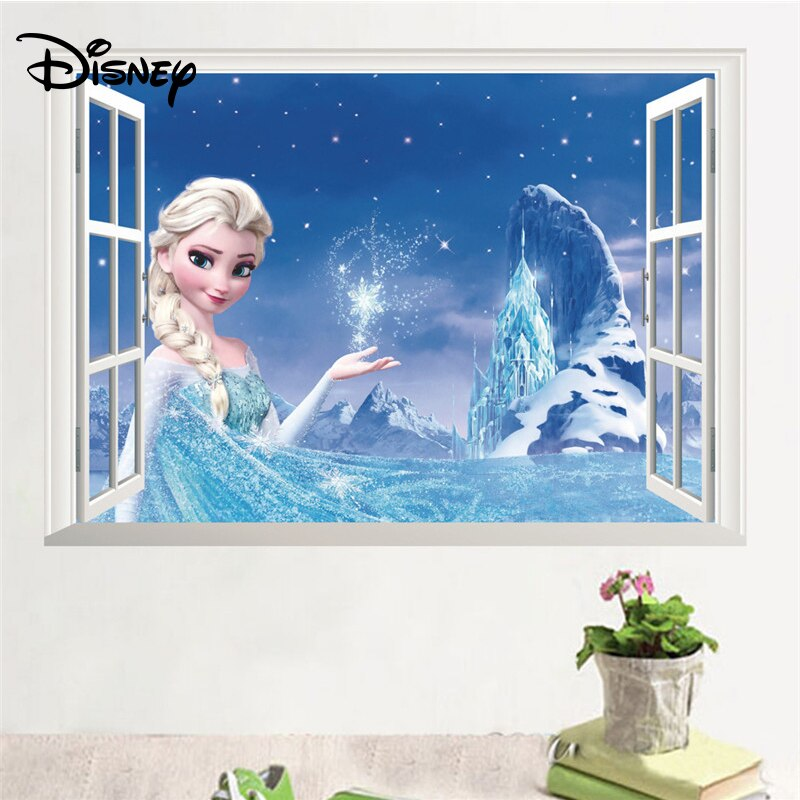 [해외]Disney Ice Romance Aisha Sticker Children`s Room Kindergarten Background Decoration Environmental Protection Waterproof Sticker/Disney Ice Romance