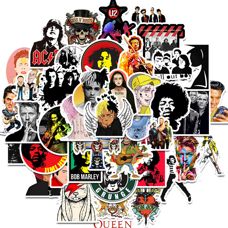 [해외]50PCS Rock character Music Retro Band Graffiti JDM Stickers for DIY Sticker on Travel case Laptop Skateboard Guitar Fridge phone/50PCS Rock charac