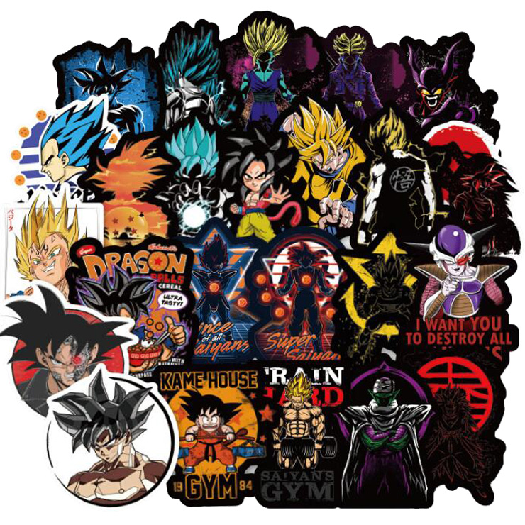 [해외]100 pcs Dragon Ball Z Stickers Anime Super Cool Goku Decals Sticker for to Laptop Suitcase Guitar Fridge Bicycle Motorcycle Car/100 pcs Dragon Bal