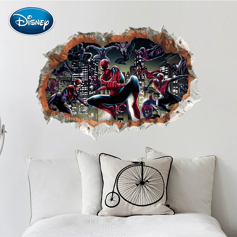 [해외]Disney 3d stereo sticker Marvel hero Spider-man broken wall decoration stickers self-adhesive dormitory back bedroom waterproof/Disney 3d stereo s
