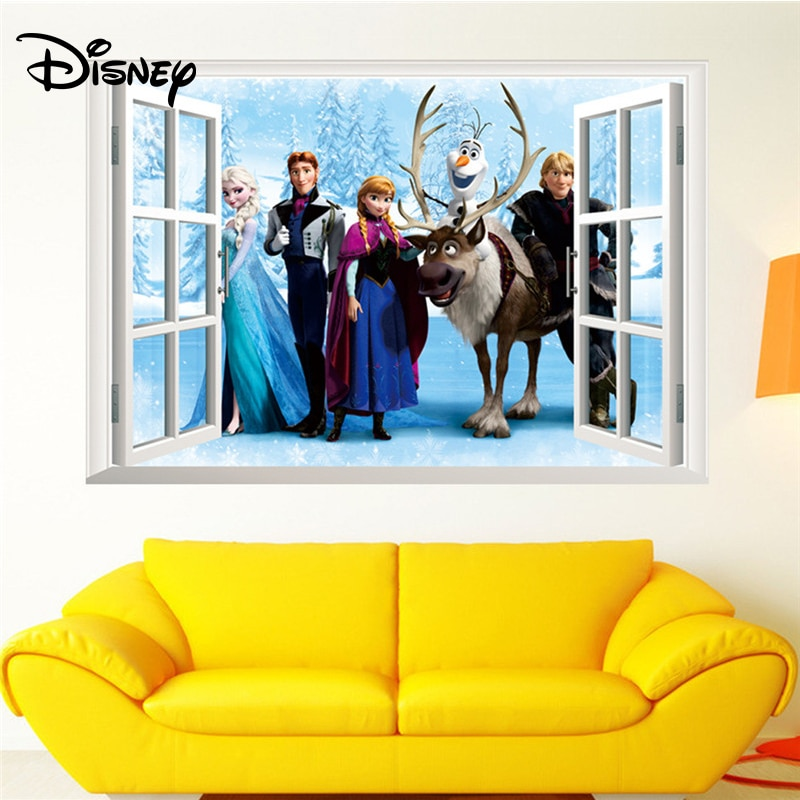 [해외]Disney Frozen stickers Children`s room decoration environmental fake window effect removable stickers/Disney Frozen stickers Children`s room decor