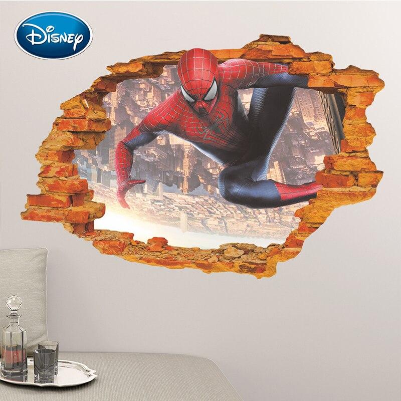[해외]Disney 3D three-dimensional broken wall spiderman stickers children`s room kindergarten environment layout stickers/Disney 3D three-dimensional br