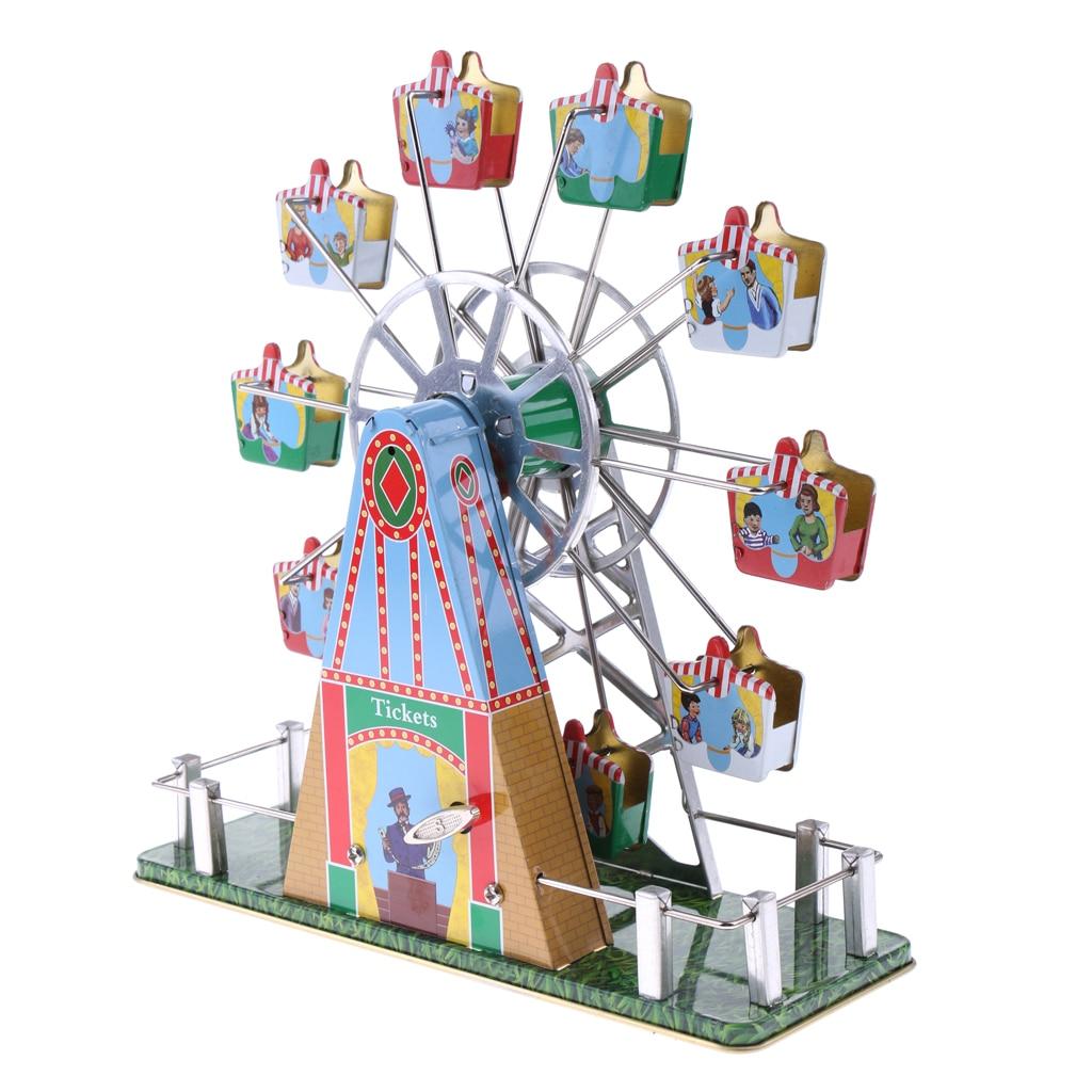 [해외]빈티지 뮤지컬 회전 관람차 음악 운동 시계 금속 주석 장난감 클래식 바람 업 장난감 Collectible 선물
