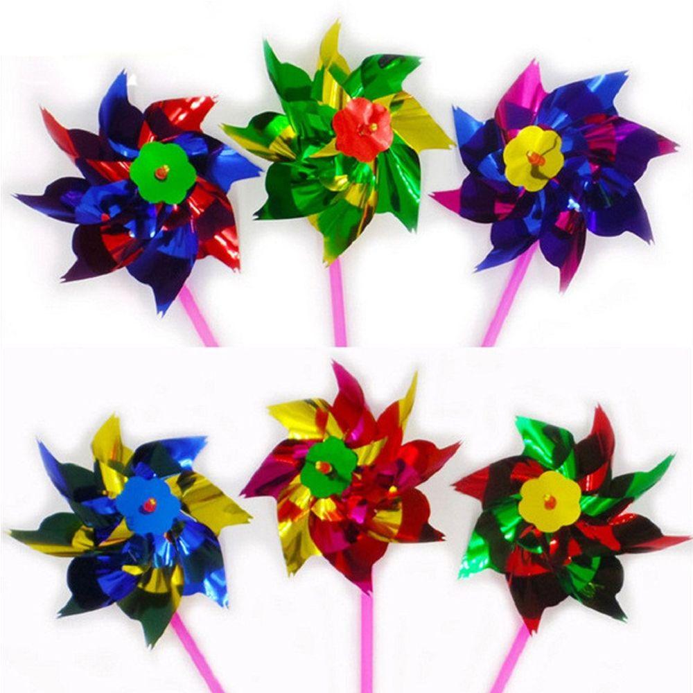 [해외]뜨거운 판매 10 pcs 포장 작은 다채로운 플라스틱 바람개비 바람 회 전자 풍차 정원 파티 decorationcolorful 꽃