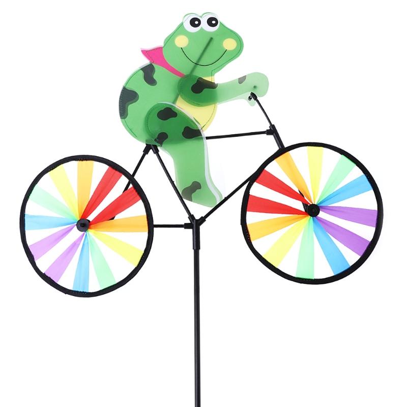 [해외]HBB 자전거 풍차에 귀여운 3D 개구리 Whirligig 정원 잔디 마당 장식 바람 회 전자