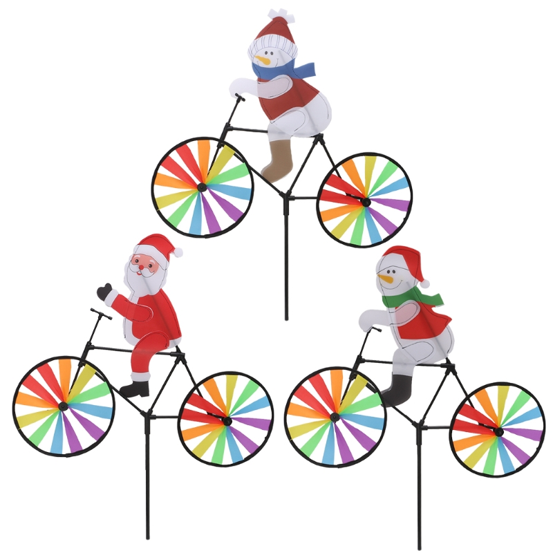 [해외]자전거 풍차에 3d 대형 산타 클로스 바람 회 전자 whirligig 야드 정원 장식