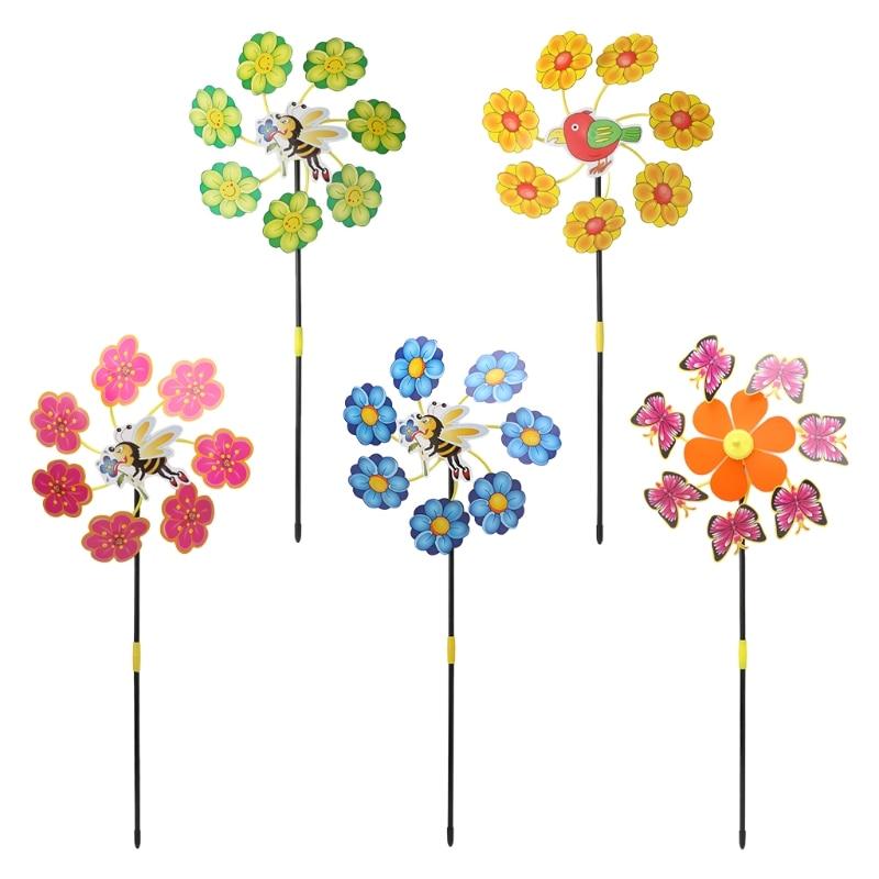 [해외]3d 귀여운 동물 곤충 조류 풍차 바람 회 전자 whirligig 야드 정원 장식 장난감