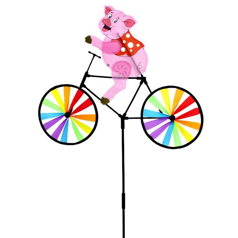 [해외]자전거 풍차에 귀여운 3d 동물 돼지 whirligig 정원 잔디 마당 장식 바람 회 전자