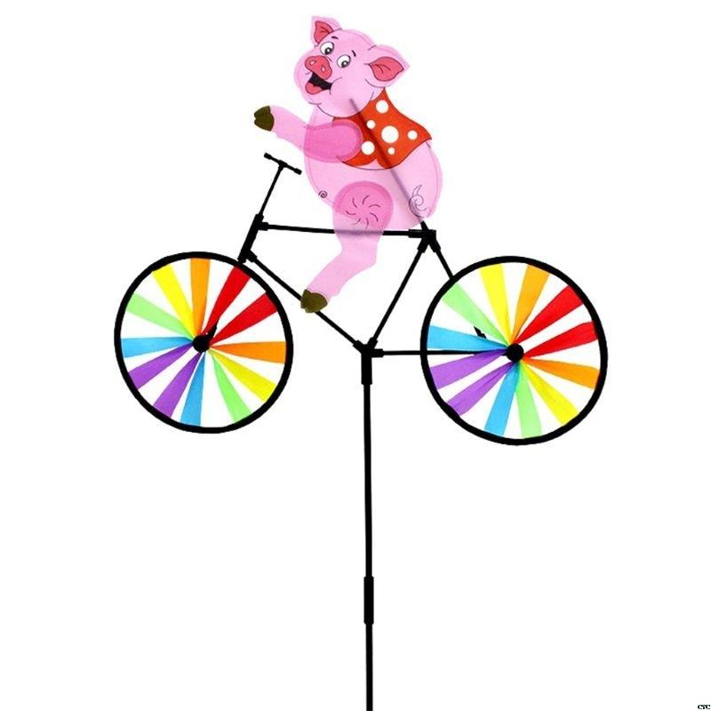 [해외]자전거 풍차에 귀여운 3D 동물 돼지 Whirligig 정원 잔디 마당 장식 바람 회 전자/자전거 풍차에 귀여운 3D 동물 돼지 Whirligig 정원 잔디 마당 장식 바람 회 전자