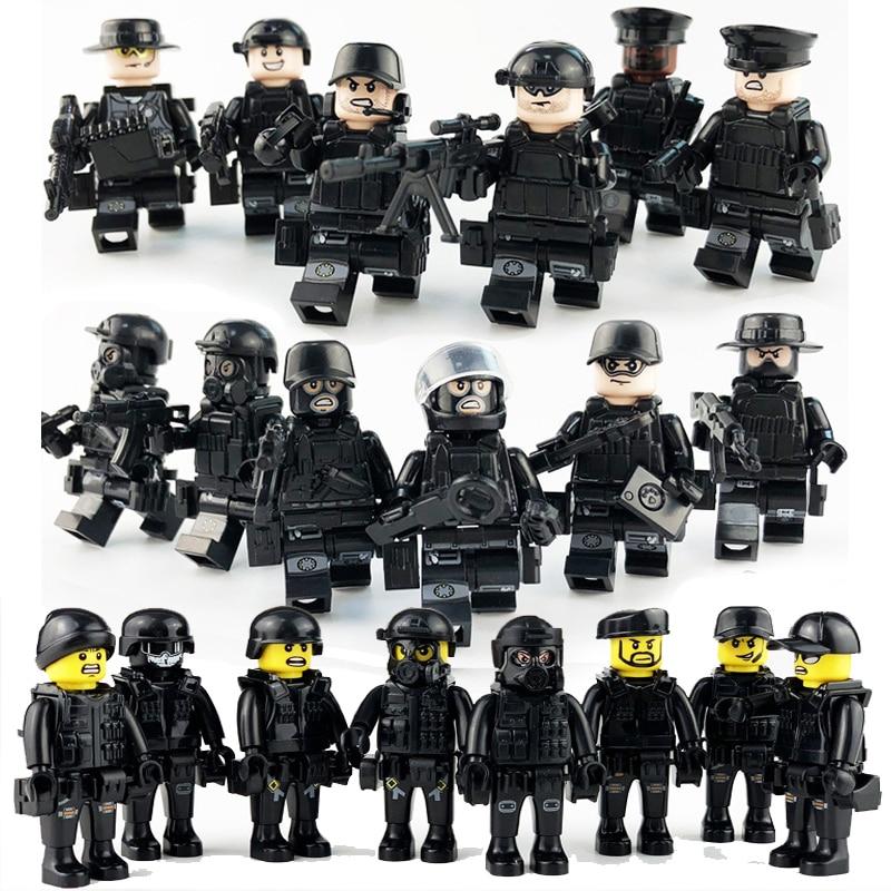 [해외]20Pcs/set Military Special Forces Soldiers Bricks Figures Guns Weapons Compatible Legoings Armed SWAT Building Blocks Ww2 Toys/20Pcs/set Military