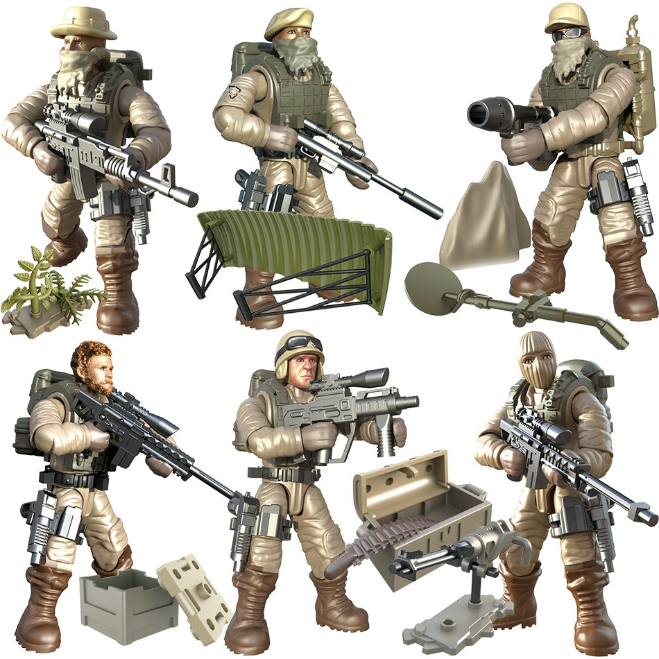 [해외]6Pcs/set PUBG Army Soldiers World War II Building Blocks Legoingly WW2 Military SeriesWeapons Guns Bricks Toys For Kids/6Pcs/set PUBG Army Soldier