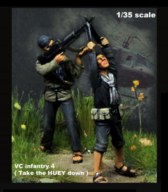 [해외]1/35 Scale Unpainted Resin Figure Vietnam infantry take the Huey down 2 figures GK figure/1/35 Scale Unpainted Resin Figure Vietnam infantry take