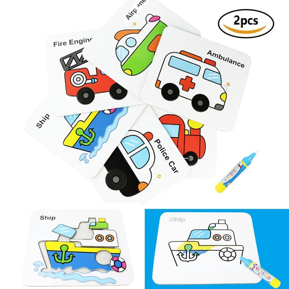 [해외]Coolplay 2pcs Magic Water Drawing Board Puzzle Card Cartoon Vehicle Painting Card Early Educational Toys for Preschool Children/Coolplay 2pcs Magi