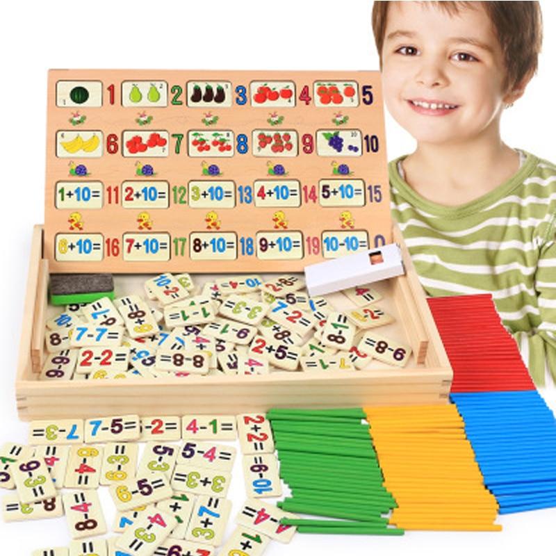 [해외]어린이 조기 학습 수학 초급 교육 120 질문 미취학 아동 추가 sub셈 카운팅 막대 나무 상자 장난감