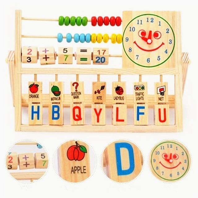 [해외]Children`s Multifunctional Clock Computing Frame for Early Childhood Education and Intellectual Learning of Wooden Toys/Children`s Multifunctional