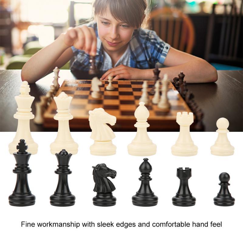 [해외]32pcs/Set Plastic International Standard Chess Set Replacement Tournament Chessmen Black White for Chess Game/32pcs/Set Plastic International Stan