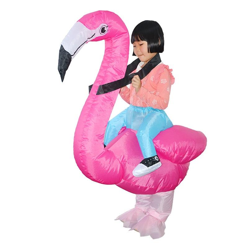 [해외]플라밍고 어린이 의상을 입은 코스프레 복장에 동물의 멋진 드레스 할로윈 카니발 파티 의류 마스코트 복장/Flamingo Inflatable Costumes for Child Ride on Cosplay Suits Animal Fancy Dress Hallowee