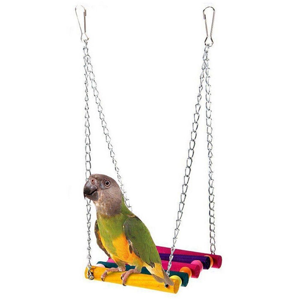 [해외]새로운 재미 있은 고품질 패션 애완 동물 새 앵무새 lovebird 나무 케이지 교수형 발 씹는 장난감 해먹 스윙 완구