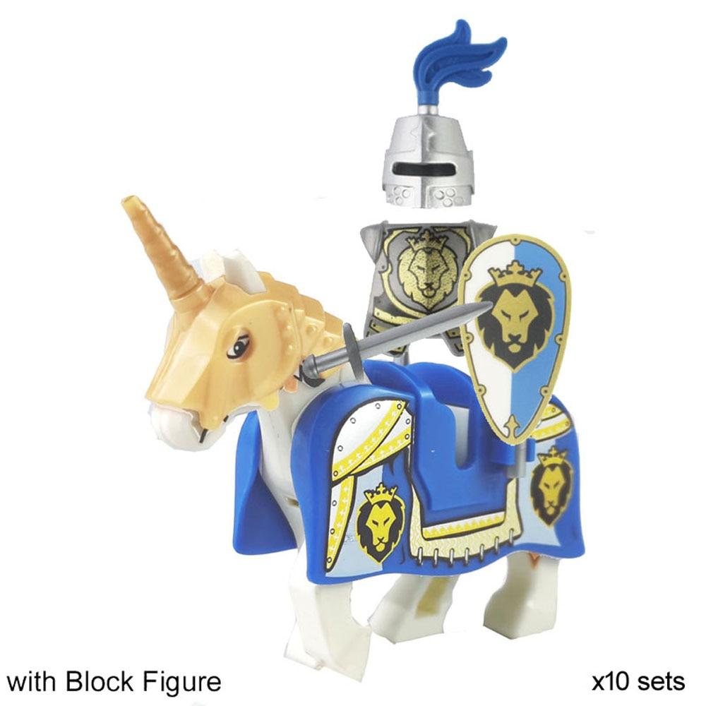 [해외]Dragoon castle royal cavalryman 킹스 나이트 블루 라이온 기사 w/battle steed 로마 기병 전사 빌딩 블록 미니 피규어/Dragoon castle royal cavalryman 킹스 나이트 블루 라이온 기사 w