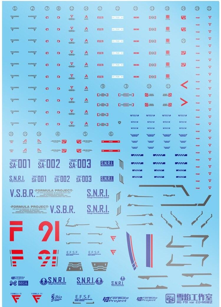 [해외]Xy 워터 데칼 mg 1:100 건담 f91 ver.2.0 mb 스타일 데칼 건담 f91