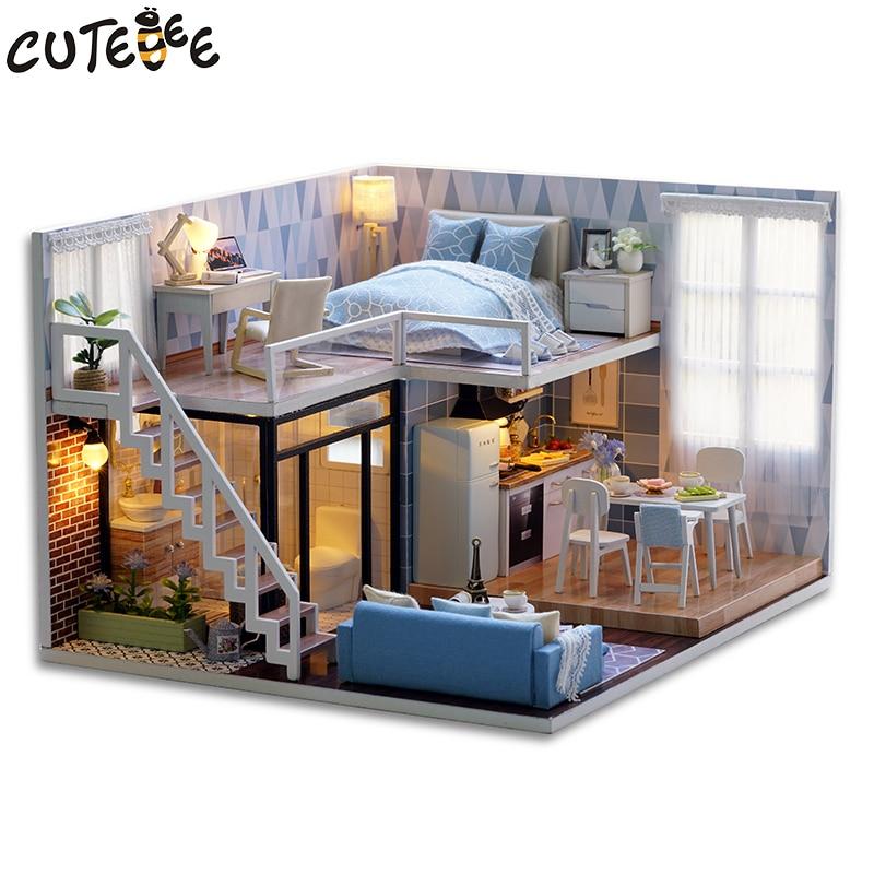 [해외]Diy casa munecas de madera casas de munecas miniatura 카사 드 munecas muebles 키트 led juguetes para ninos navidad l023/Diy casa munecas de m