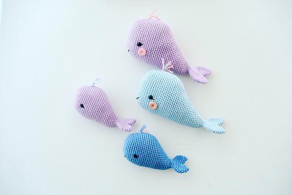 [해외]크로 셰 뜨개질 장난감 amigurumi 고래 가족./크로 셰 뜨개질 장난감 amigurumi 고래 가족.
