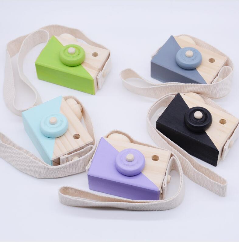 [해외]귀여운 나무 장난감 카메라 아기 키즈 카메라 사진 매달려 장식 어린이 교육 장난감 생일 크리스마스 선물
