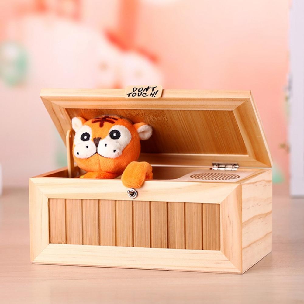 [해외]Leadingstar 나무 전자 쓸모없는 상자 소리와 함께 귀여운 호랑이 20 모드 자동으로 책상 장식 생일 zk30 종료