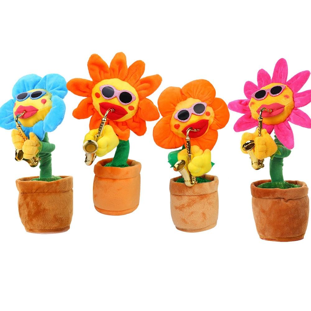 [해외]Hiinst 60 노래 노래와 춤 꽃 색소폰 플러시 재미 전기 장난감 매혹적인 해바라기 40 # dropship