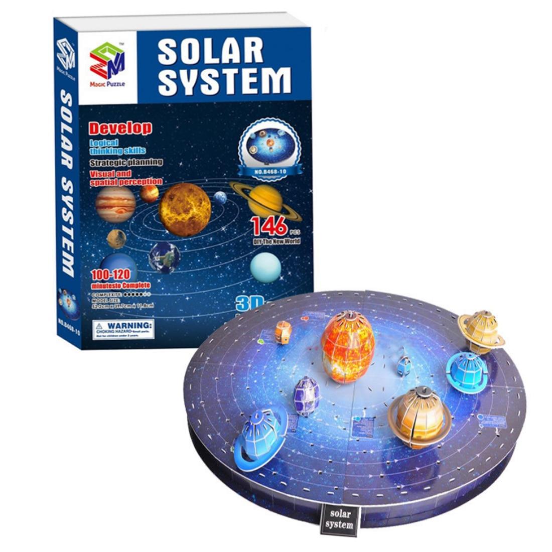 [해외]146Pcs 3D Solar System Puzzle Set Planet Puzzle Board Game 3D Paper DIY Jigsaw Puzzle Toy 3d Wooden Puzzle Toys Model/146Pcs 3D Solar System Puzzl