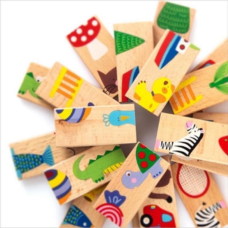 [해외]아이의 부드러운 몬테소리 나무 도미노 블록 장난감 세트 28 개 동물 패턴 높은 품질의 선물 WD148/아이의 부드러운 몬테소리 나무 도미노 블록 장난감 세트 28 개 동물 패턴 높은 품질의 선물 WD148