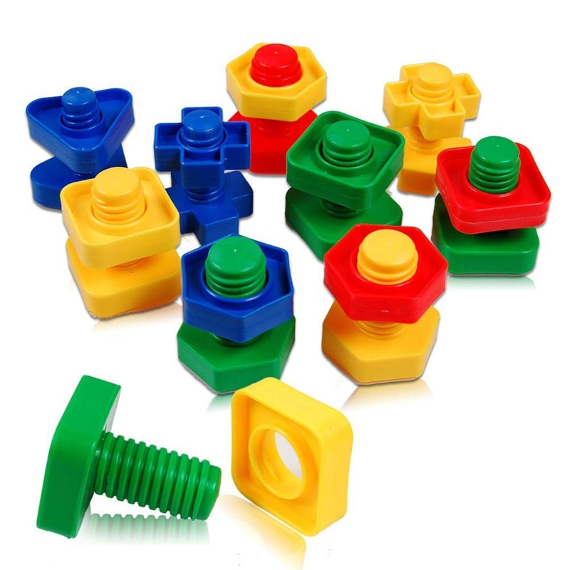 [해외]Creative DIY Plastic Block Games Montessori Toy Screw Nut Shape Building Blocks Early Learning Education Toys For Children/Creative DIY Plastic Bl