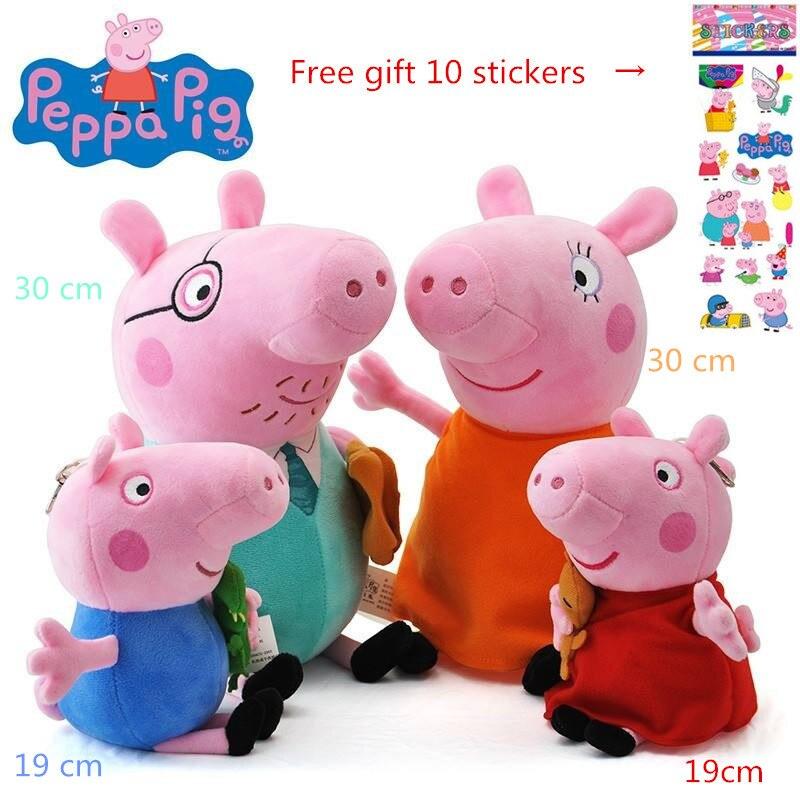 [해외]Peppa 돼지 원래 4 pcs 30/19 cm peppa 조지 돼지 세트 박제 인형 장난감 가족 kawaii 인형 생일 선물 chilren 소녀 장난감/Peppa 돼지 원래 4 pcs 30/19 cm peppa 조지 돼지 세트 박제 인형 장난