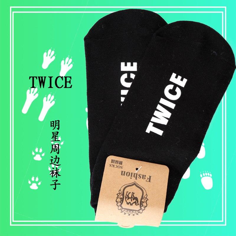 [해외][MYKPOP] UniKPOP 팬 컬렉션 SA18072311 용 검은 색 양말 2 개 양말/[MYKPOP]TWICE Black Cotton Socks for UniKPOP Fans Collection SA18072311