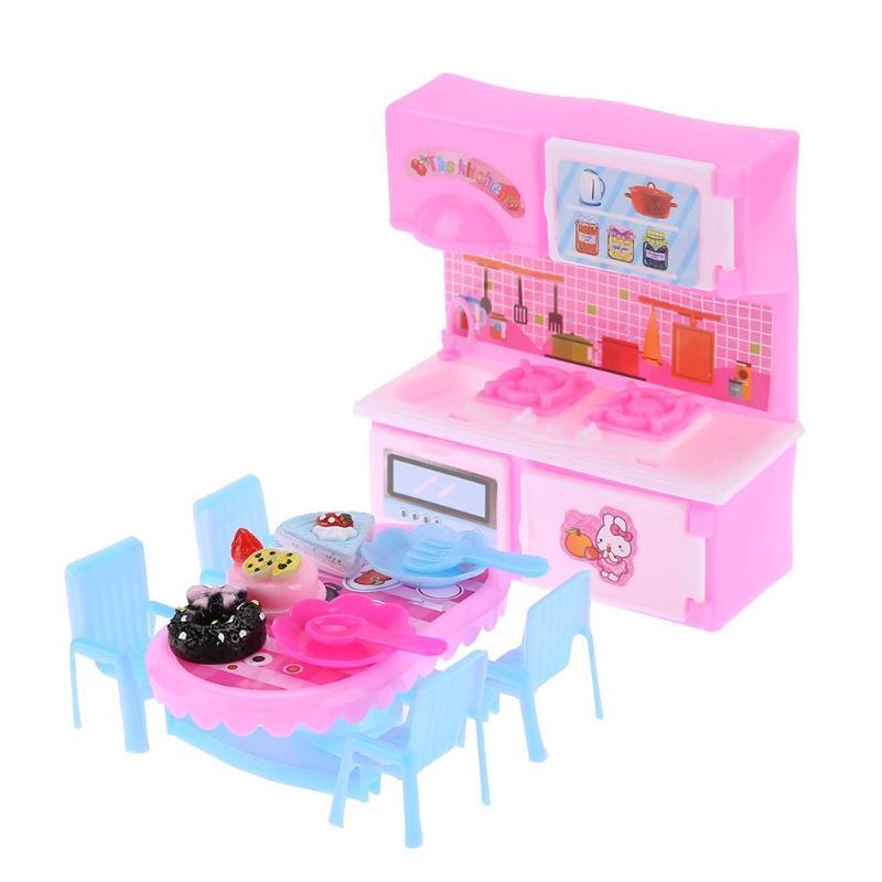 [해외]1set Doll Toy Accessories Plastic Mini Kitchen Toys Dining Table Toys Kid Playing House Doll Kit Children`s Educational Toys/1set Doll Toy Accesso