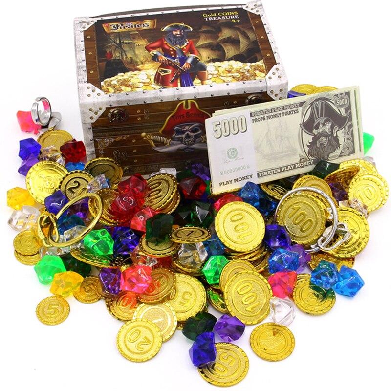 [해외]플라스틱 골드 보물 동전 캡틴 해적 동전 크리스탈 다이아몬드 보물 상자 아크릴 돌 보석 장난감 소년/플라스틱 골드 보물 동전 캡틴 해적 동전 크리스탈 다이아몬드 보물 상자 아크릴 돌 보석 장난감 소년