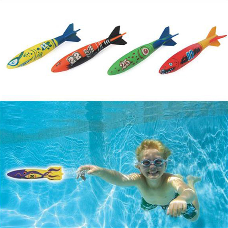 [해외]/1 Pc Torpedo Rocket Throwing Toy Summer Swimming Pool Diving Game Torpedoes Bandits Underwater Dive Sticks Water Toys